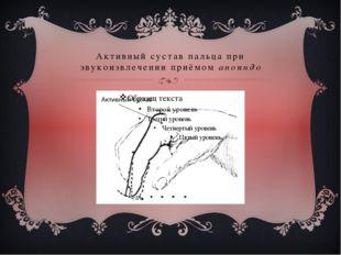 Активный сустав пальца при звукоизвлечении приёмом апояндо
