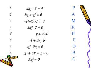 1 2x – 5 = 4 Р 2 3x + x² = 0 А 3 -x²+2x-5 = 0 М 4 2x²- 7 = 0 К 5х +