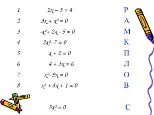 1 2x – 5 = 4 Р 2 3x + x² = 0 А 3 -x²+ 2x - 5 = 0 М 4 2x²- 7 = 0 К 5