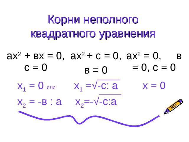 Корни неполного квадратного уравнения ах2 + вх = 0, с = 0ах2 + с = 0, в = 0...