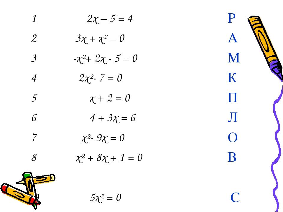 1 2x – 5 = 4 Р 2 3x + x² = 0 А 3 -x²+ 2x - 5 = 0 М 4 2x²- 7 = 0 К 5...