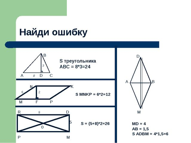 Найди ошибку  B  3 A 8 D C S треугольника ABC = 8*3=24 N K 6 2 M F P S MNKP...