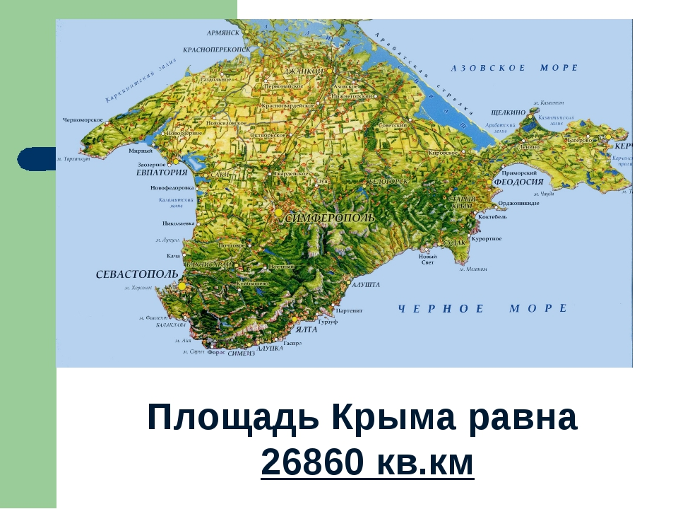 Площадь Крыма равна 26860 кв.км