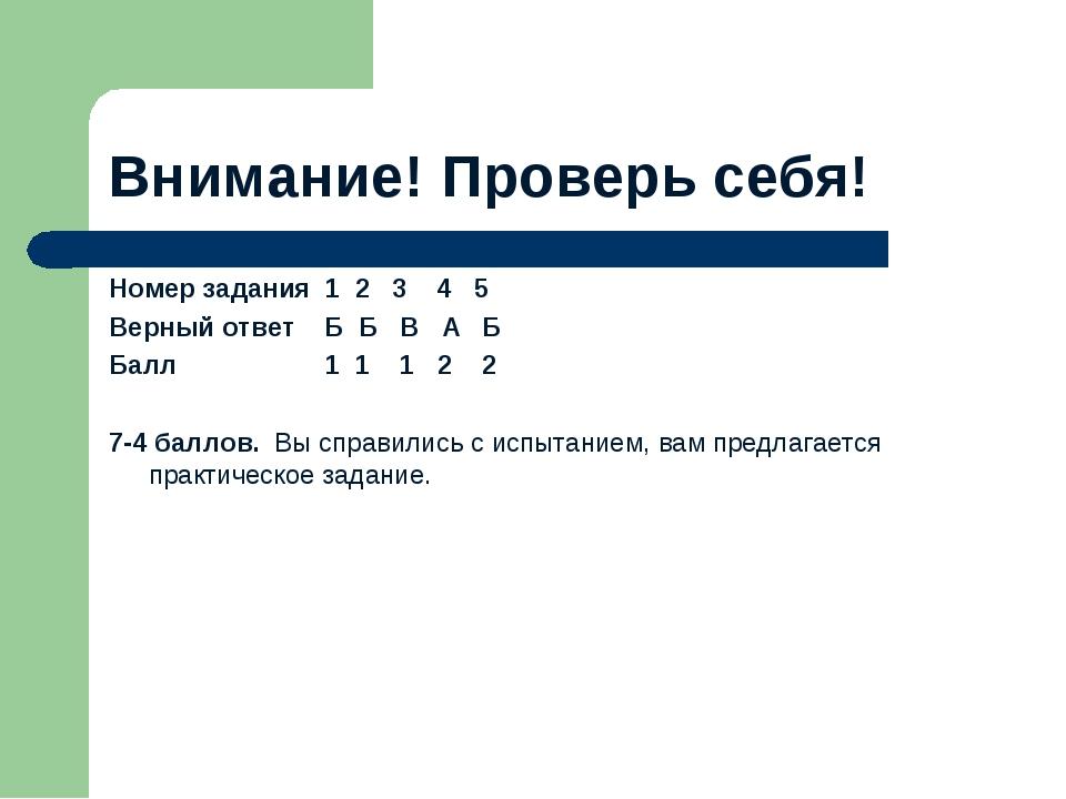 Внимание! Проверь себя! Номер задания 1 2 3 4 5 Верный ответ Б Б В А Б Балл 1...