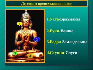 Легенда о происхождении каст 1 2 3 4 1.Уста-Брахманы 2.Руки-Воины 3.Бедра-Зем
