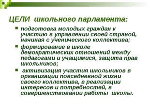 ЦЕЛИ школьного парламента: подготовка молодых граждан к участию в управлении