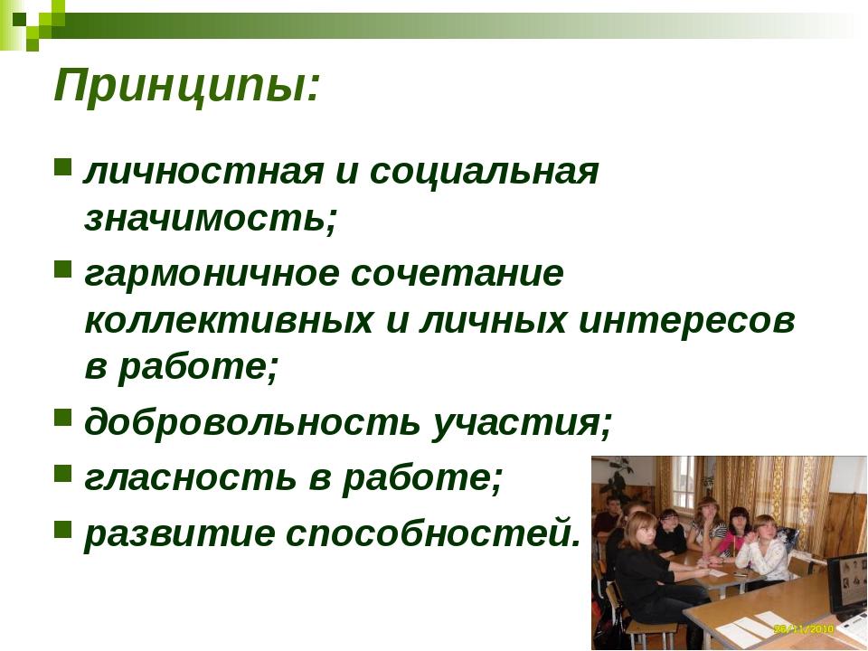 Принципы: личностная и социальная значимость; гармоничное сочетание коллектив...