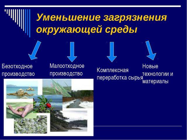Уменьшение загрязнения окружающей среды Безотходное производство Малоотходное...