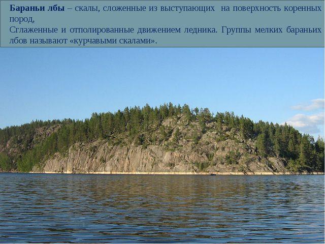 Бараньи лбы – скалы, сложенные из выступающих на поверхность коренных пород,...