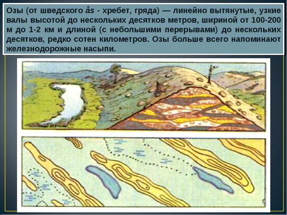 Озы (от шведского ås - хребет, гряда) — линейно вытянутые, узкие валы высотой...
