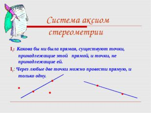 Система аксиом стереометрии I1: Какова бы ни была прямая, существуют точки, п