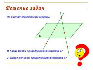 Решение задач По рисунку ответьте на вопросы: 1) Какие точки принадлежат плос