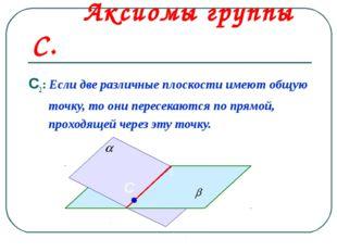 Аксиомы группы С. С2: Если две различные плоскости имеют общую точку, то они