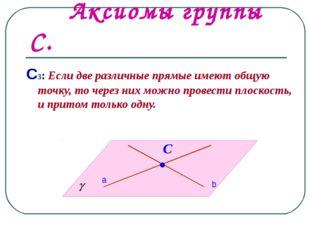 Аксиомы группы С. С3: Если две различные прямые имеют общую точку, то через