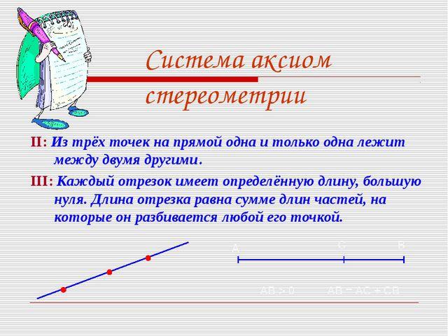 Система аксиом стереометрии II: Из трёх точек на прямой одна и только одна ле...