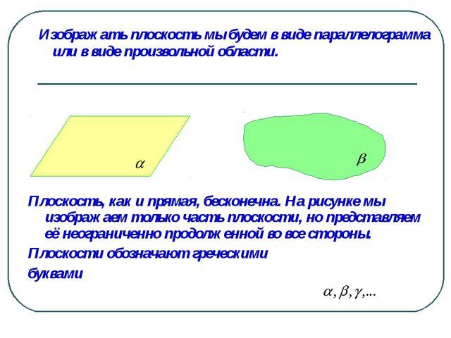 Изображать плоскость мы будем в виде параллелограмма или в виде произвольной...