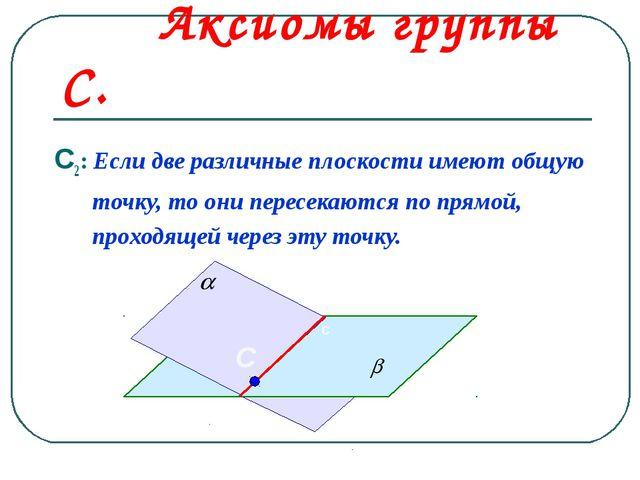 Аксиомы группы С. С2: Если две различные плоскости имеют общую точку, то они...