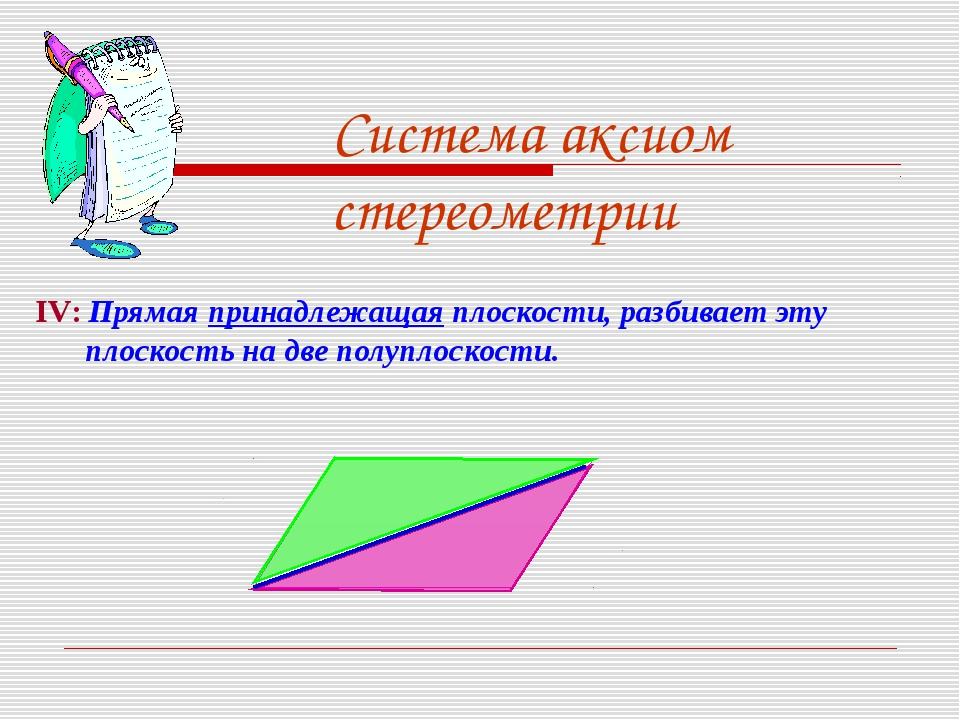 Система аксиом стереометрии IV: Прямая принадлежащая плоскости, разбивает эту...