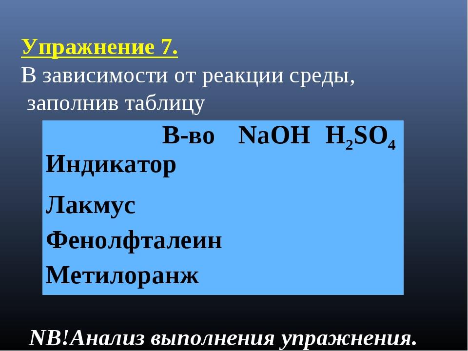 Упражнение 7. В зависимости от реакции среды, заполнив таблицу NB!Анализ выпо...
