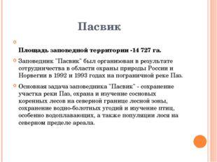 """Пасвик  Площадь заповедной территории -14 727 га. Заповедник """"Пасвик"""" был ор"""