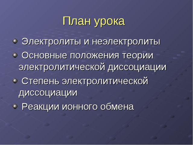 План урока Электролиты и неэлектролиты Основные положения теории электролитич...