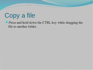 Copy a file Press and hold down the CTRL key while dragging the file to anoth