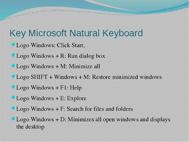 Key Microsoft Natural Keyboard Logo Windows: Click Start, Logo Windows + R: R...