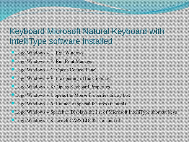 Keyboard Microsoft Natural Keyboard with IntelliType software installed Logo...