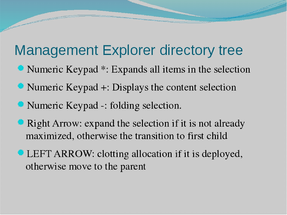 Management Explorer directory tree Numeric Keypad *: Expands all items in the...