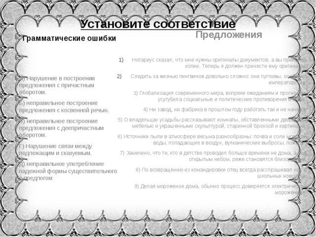 Установите соответствие Грамматические ошибки А) Нарушение в построении предл...