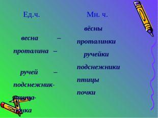 Ед.ч. весна – проталина – ручей – подснежник- птица- почка Мн. ч. вёсны прот