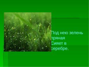 Под нею зелень пряная Сияет в серебре.