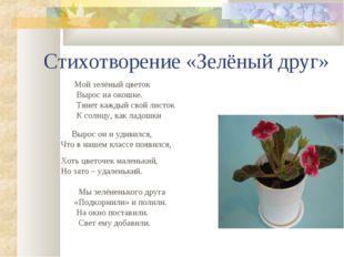 Стихотворение «Зелёный друг» Мой зелёный цветок Вырос на окошке. Тянет каждый