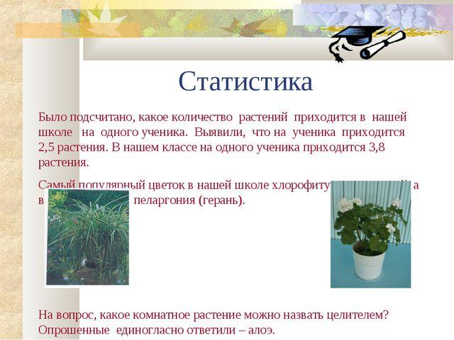 Статистика Было подсчитано, какое количество растений приходится в нашей школ...