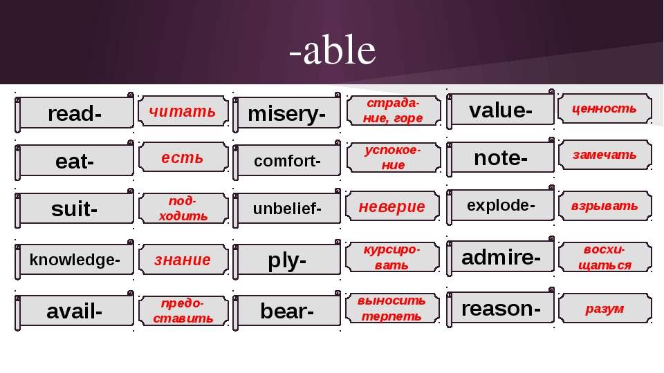 -able read- eat- suit- knowledge- avail- misery- comfort- unbelief- ply- bear...