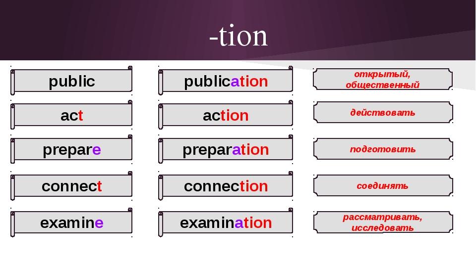 -tion public act prepare connect examine открытый, общественный действовать п...