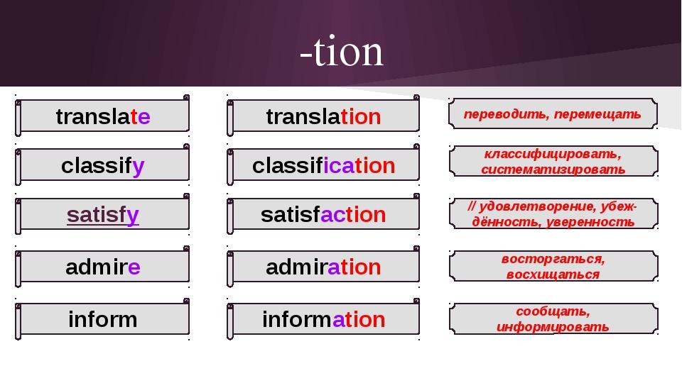 -tion translate classify satisfy admire inform переводить, перемещать // удов...
