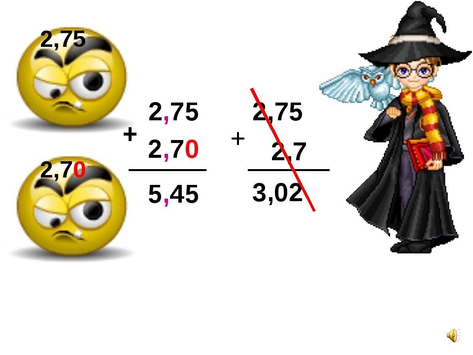 2,70 2,75 2,75 2,70 + 5,45 2,75 + 2,7 3,02