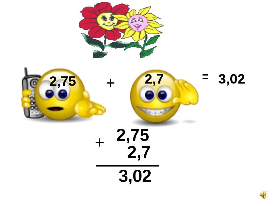 2,75 2,7 + = 3,02 2,75 + 2,7 3,02 2,75 2,7