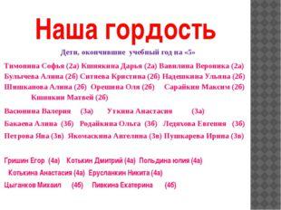 Наша гордость Дети, окончившие учебный год на «5» Тимонина Софья (2а) Кшнякин
