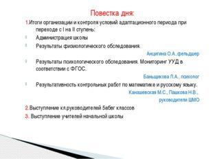 Повестка дня: 1.Итоги организации и контроля условий адаптационного периода п