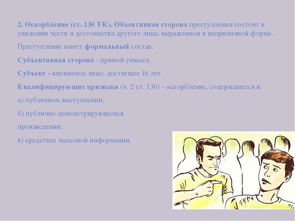 2. Оскорбление (ст. 130 УК). Объективная сторона преступления состоит в униж...