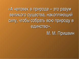 «А человек в природе – это разум великого существа, накопляющий силу, чтобы с