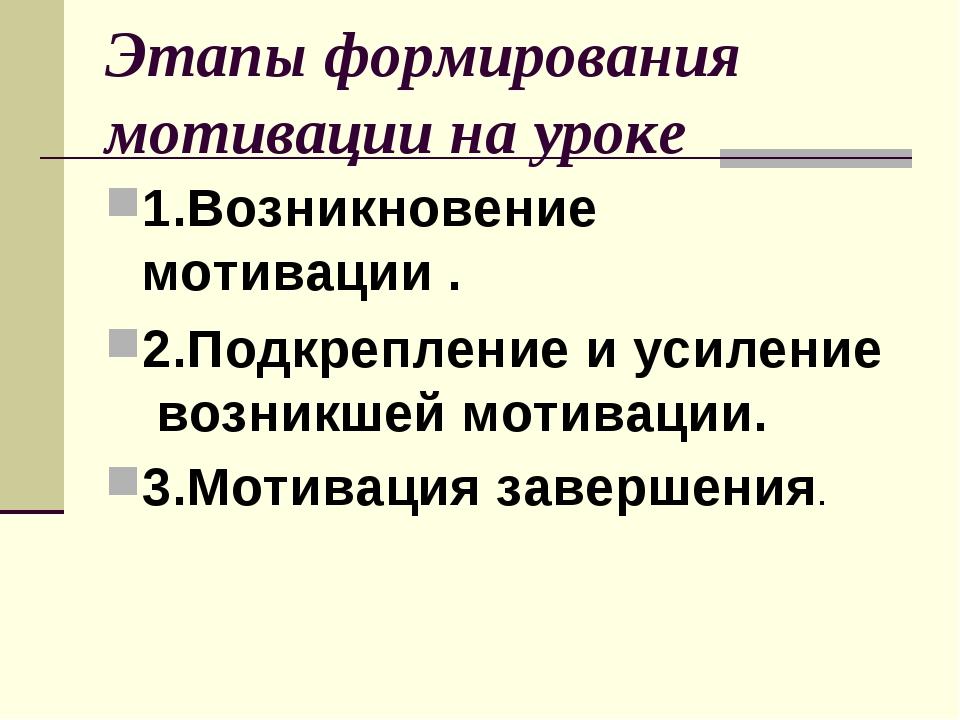Этапы формирования мотивации на уроке 1.Возникновение мотивации . 2.Подкрепле...