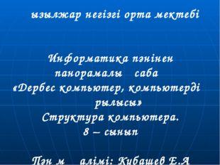 Қызылжар негізгі орта мектебі Информатика пәнінен панорамалық сабақ «Дербес к