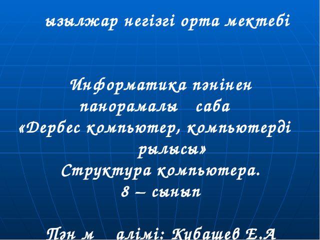 Қызылжар негізгі орта мектебі Информатика пәнінен панорамалық сабақ «Дербес к...