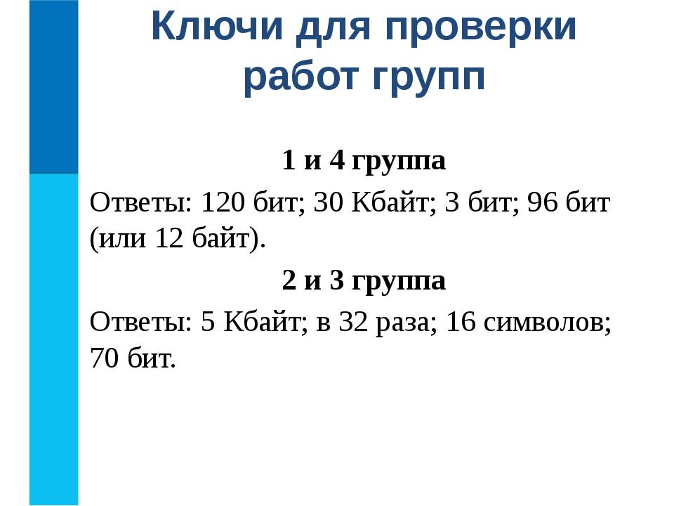 1 и 4 группа Ответы: 120 бит; 30 Кбайт; 3 бит; 96 бит (или 12 байт). 2 и 3 гр...