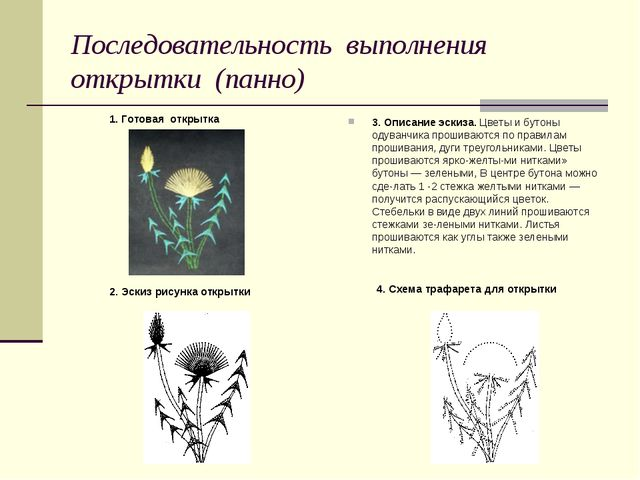 Последовательность выполнения открытки (панно) 3. Описание эскиза. Цветы и бу...