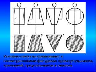 Условно силуэты сравнивают с геометрическими фигурами: прямоугольником, трапе