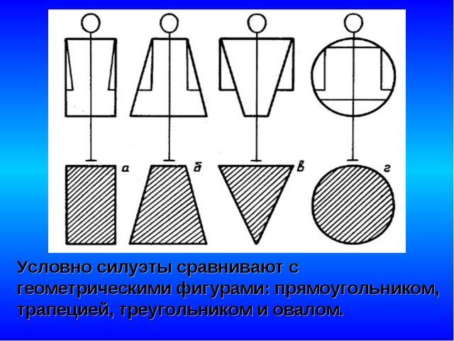 Условно силуэты сравнивают с геометрическими фигурами: прямоугольником, трапе...